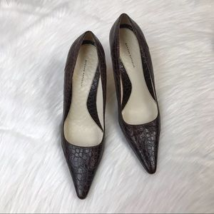 Banana Republic Brown Crocodile Point Heels Size 8
